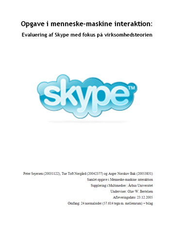 Evaluering af Skype med fokus på virksomhedsteorien